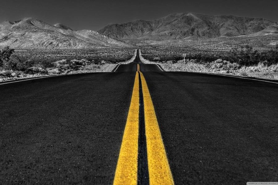 Largo Camino Del Desierto Paisaje Paisaje Blanco Y Negro Tela de Seda  Impresión Del Cartel Decoración Del Hogar BB0618 71|poster print|silk  posterhome decor - AliExpress