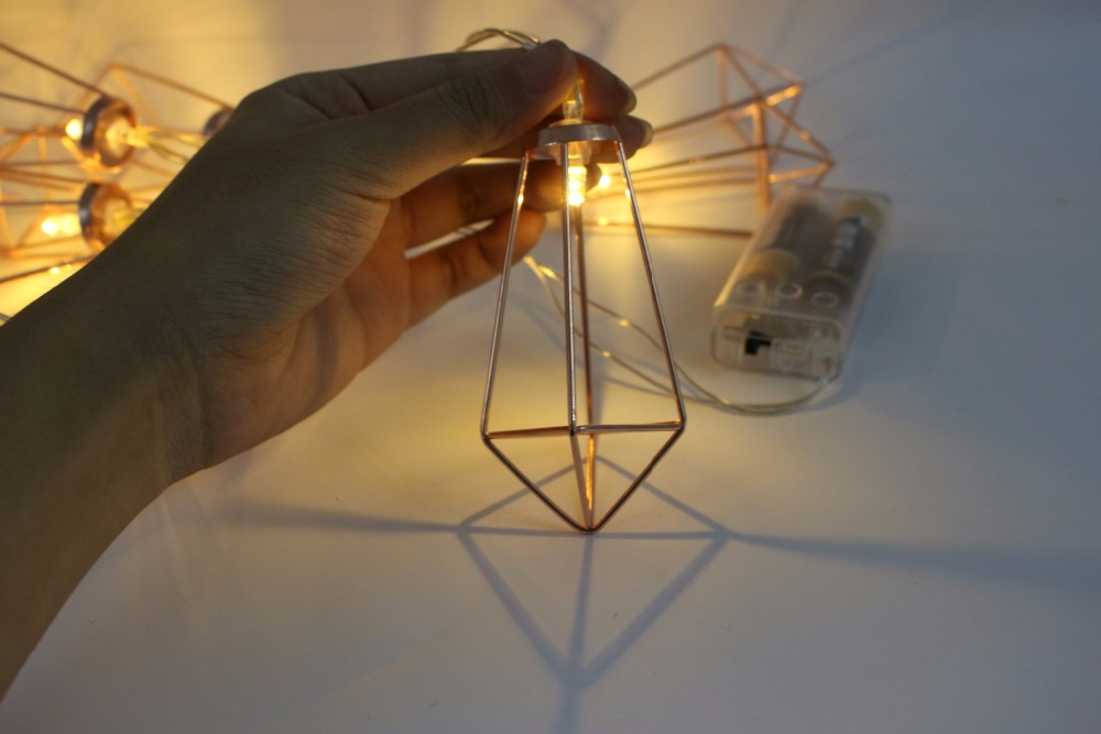 1.65 M 10 LED de Batería Operado de Oro Rosa gota de agua diamante ...