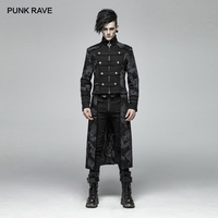 PUNK RAVE Men's Gothic Punk Dragon Totem Detachable Coat Punk Handsome Stage Performancemen Micro elastic Twill Long Jacket Tops