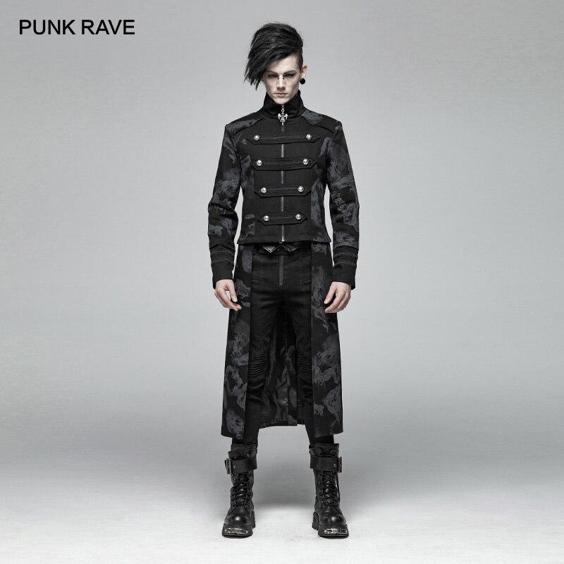 PUNK RAVE hommes gothique Punk Dragon Totem détachable manteau Punk beau scène Performancemen Micro-élastique Twill Long veste hauts
