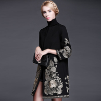 New High Quality Winter Runway Coat Women's Retro Golden Thread Embroidery Woolen Black Coat Overcoat