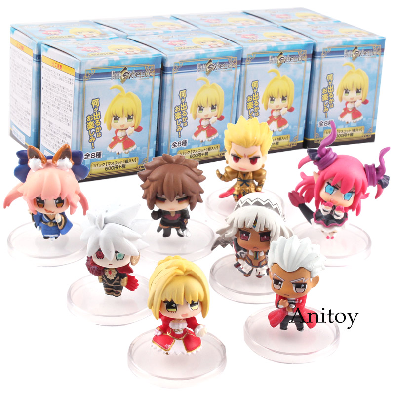 Fate/EXTELLA Saber Nero Saber Fate Figure No Name Archer Gilgamesh Tamamo No Mae Karna Altera Archimedes PVC Figure Toy 8pcs/set