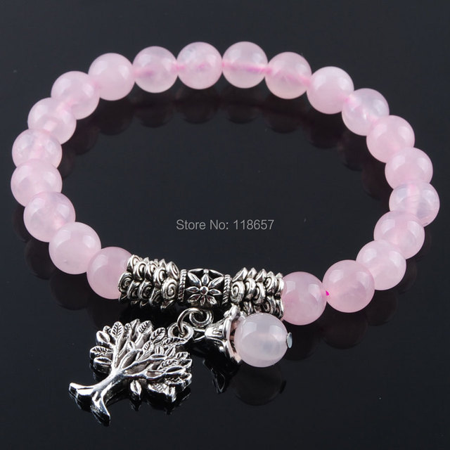 17a618bf9a142 YOWOST Natural Rose Quartzs Gem Stone Bracelet Mala Beads Tree Of Life  Charms Meditation Ethnic For