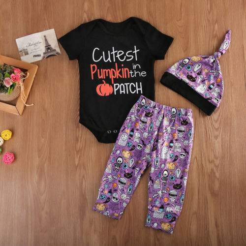Pudcoco 3Pcs Newborn Baby Boy Girl Halloween Clothes Cotton Short Sleeve O-Neck Bodysuit Pants Outfit Set 0-24 Months Helen115