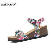 WADNASO Women Cork Beach Sandals Wedges High Heels Shoes Gladiator Summer Slippers Zapatos Mujer Sandalias Size 35-40