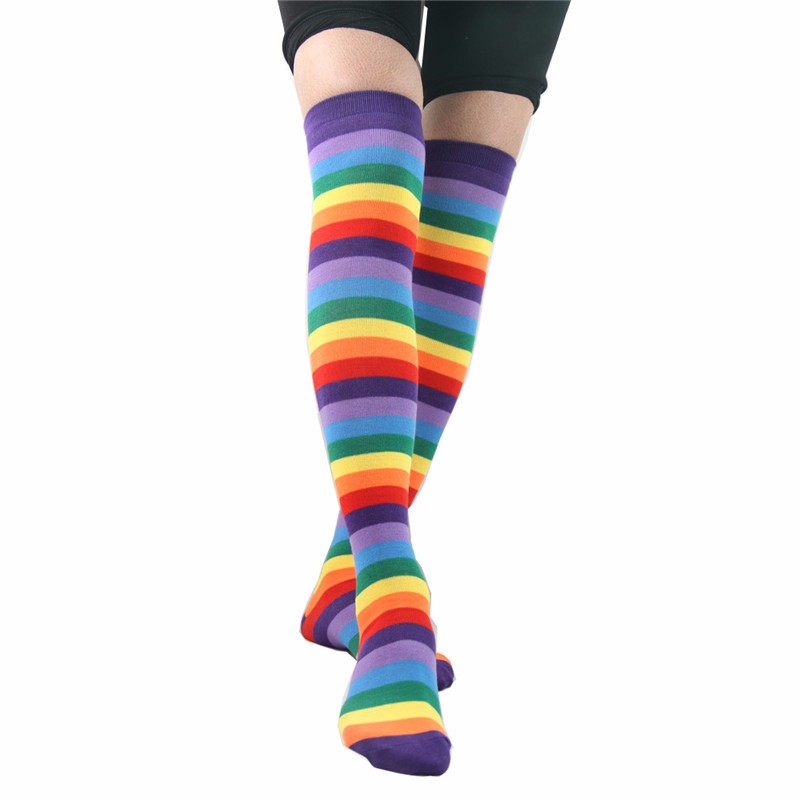 Colorful Rainbow Knee High Socks