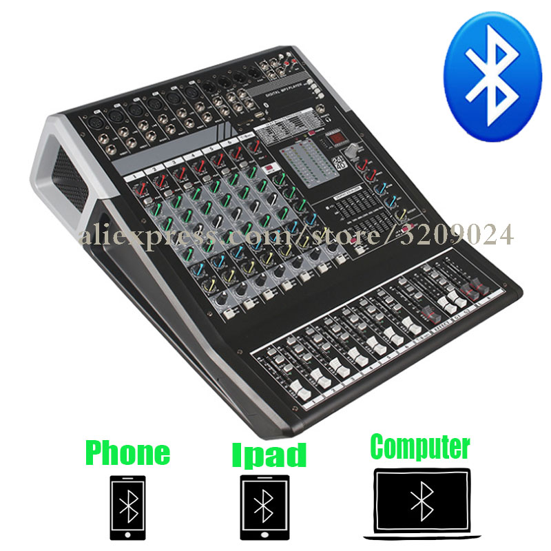 Pro Karaoke Audio Mixer Bluetooth 8 Channel Microphone Sound Mixing Console With USB 48V Phantom Power