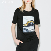 Ving Summer Women Fashion Abstract Pattern Printed T Shirt 2017 Loose O Neck Female New Arrival