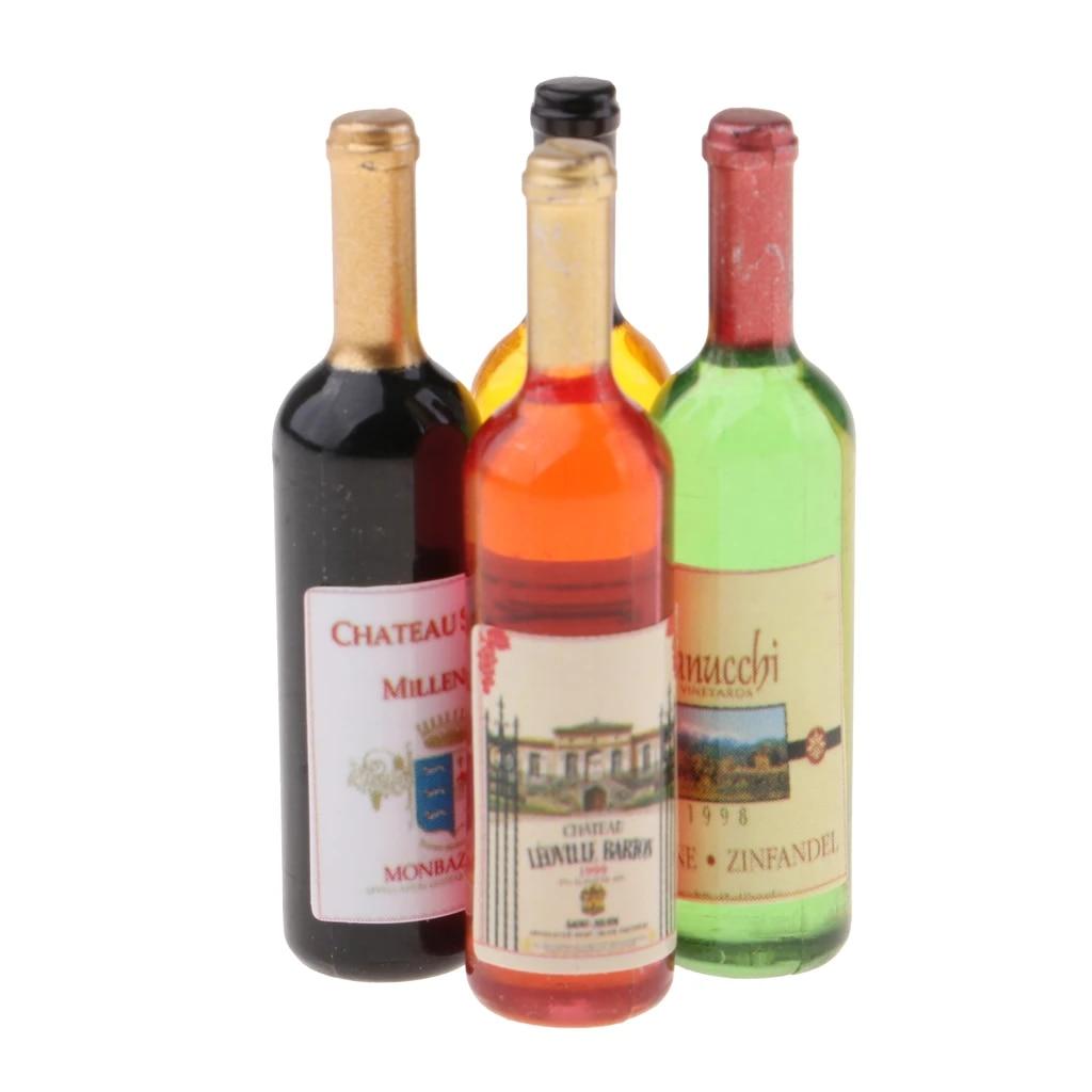 4Pcs 1:12 Dollhouse mini wine bottles miniature drinking doll house de*ss