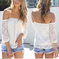 ZANZEA Sexy Women White Lace Tops Spring Summer Blouse Off the Shoulder Long Sleeve Casual Loose Shirts Blusas Plus Size S-3XL