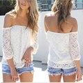 Zanzea mujeres sexy encaje blanco tops primavera verano blusa fuera el Hombro de Manga Larga Casual Camisas Sueltas Blusas Tallas grandes S-3XL