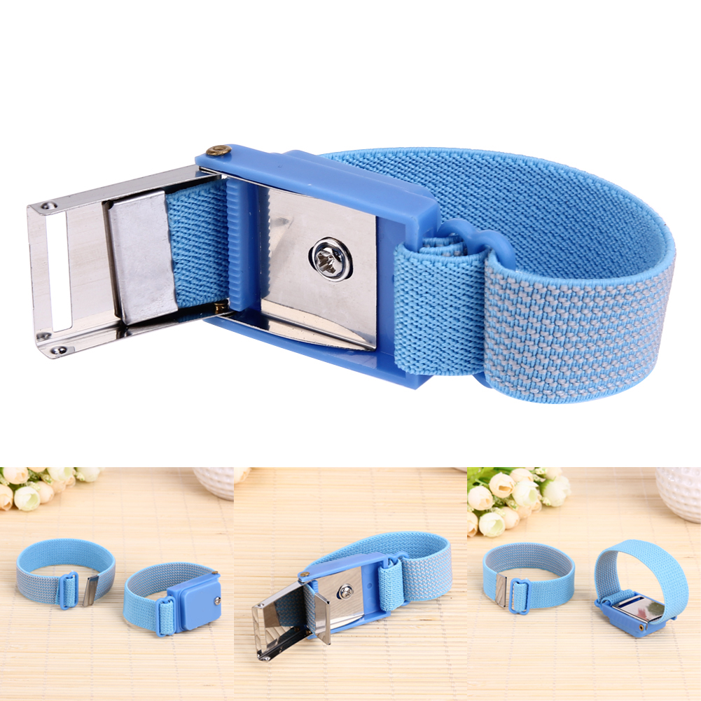 1Pcs Cordless Wireless Anti Static ESD Discharge Blue Cable Band Wrist Strap Slim adjustable anti static bracelet electrostatic esd discharge cable reusable wrist band strap hand with grounding wire