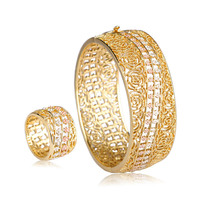 Blucome Special Design Hollow Flower Wide Bangles Ring Women Bridal Jewelry Sets Gold Color Alloy Metal