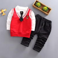 Spring preppy style Baby Boy Clothing Vest Top Pants 3pcs Set for one year birthday Newborn baby Boys Clothes Outfit Sports Sets