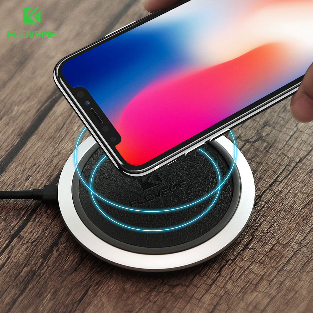 FLOVEME Qi Wireless Charger For iPhone X 8 8 Plus Original <font><b>LED</b></font> PU Leather Wireless Charger Pad For Samsung S8 S8 Plus <font><b>S7</b></font> S6 <font><b>Edge</b></font>