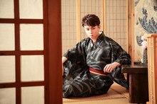 Japanese Male Anti-wrinkle Free Ironing Traditional Warrior Kimono Suit men s dress suit feather woven traditional warrior kimono japanese wedding adult kimono