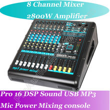 Pro 2800W High Power Amplifier + 8 Channel Mixing Console Mixer In one function - A Perfect stage studio solution цена и фото