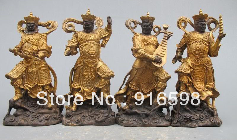 Chinese Classical Pure Bronze Gild Four Heavenly Kings God Warrior Statue AAA On