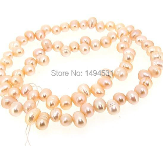 Pink Rice Freshwater Cultured Pearl Gem Loose Beads Strand 5x8mm Industrious Wholesale Pearl Jewelry Free Shipping