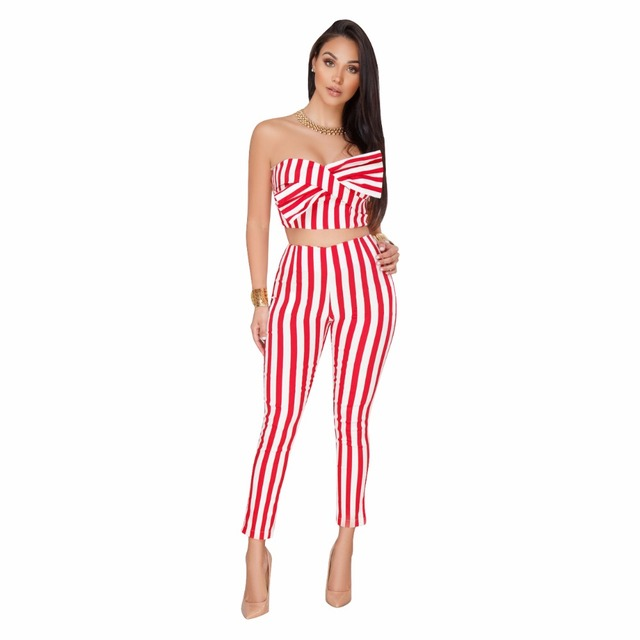 5970c581173 2018 Black Red Striped Jumpsuit Two Piece Outfits Crop Tops Skinny Long  Pants elegant Jumpsuit Rompers Sexy Club Party jumpsuits