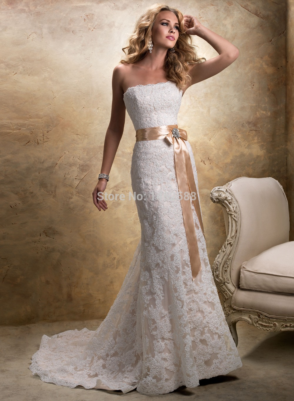 Mermaid style strapless champagne satin sashes lace wedding dress mermaid style strapless champagne satin sashes lace wedding dress mermaid 2015 sexy in wedding dresses from weddings events on aliexpress alibaba ombrellifo Choice Image
