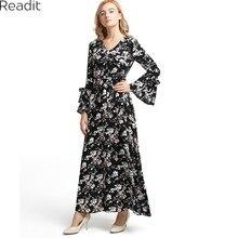 Readit Макси платье Для женщин длинные Флейта рукавом Винтаж черный Цветочный принт Макси платье Длинные платья Плюс Размеры пол Длина платье D2402