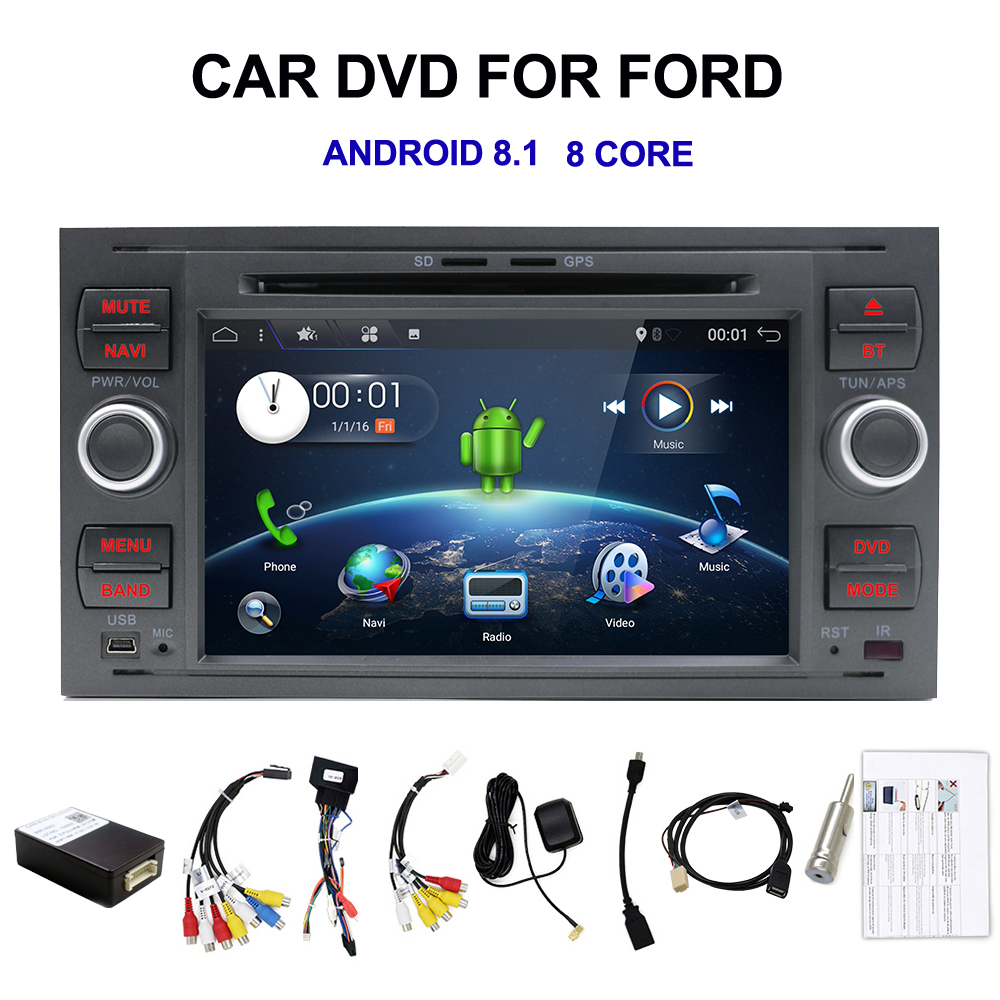 Android 8 1 Octa core Two Din 7 Inch Car DVD Player For Ford Mondeo Focus