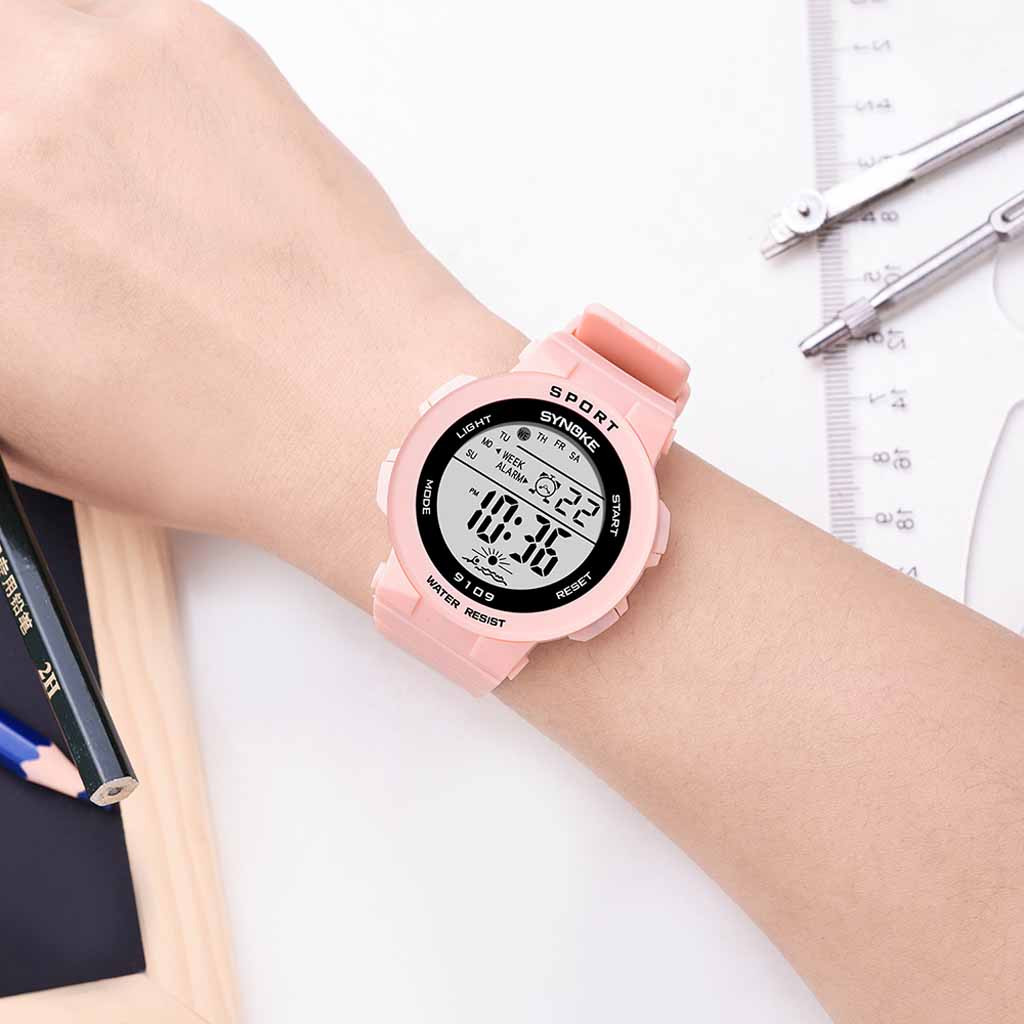Children's Watch With Gps Student Fashion Colorful Luminous Multi Function Cherry Powder Electronic Watch Girls Watches Kids LD