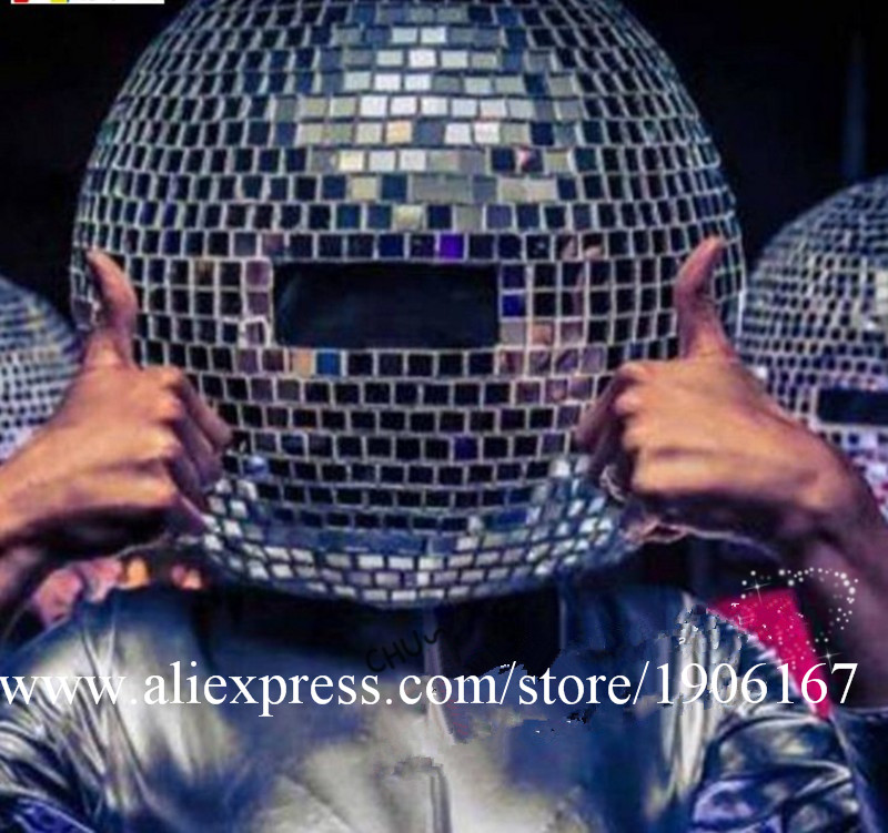 Ballroom dance costumes mirror men women singer stage show wears dj clothe Glass ball led helmet catwalk disco performance7