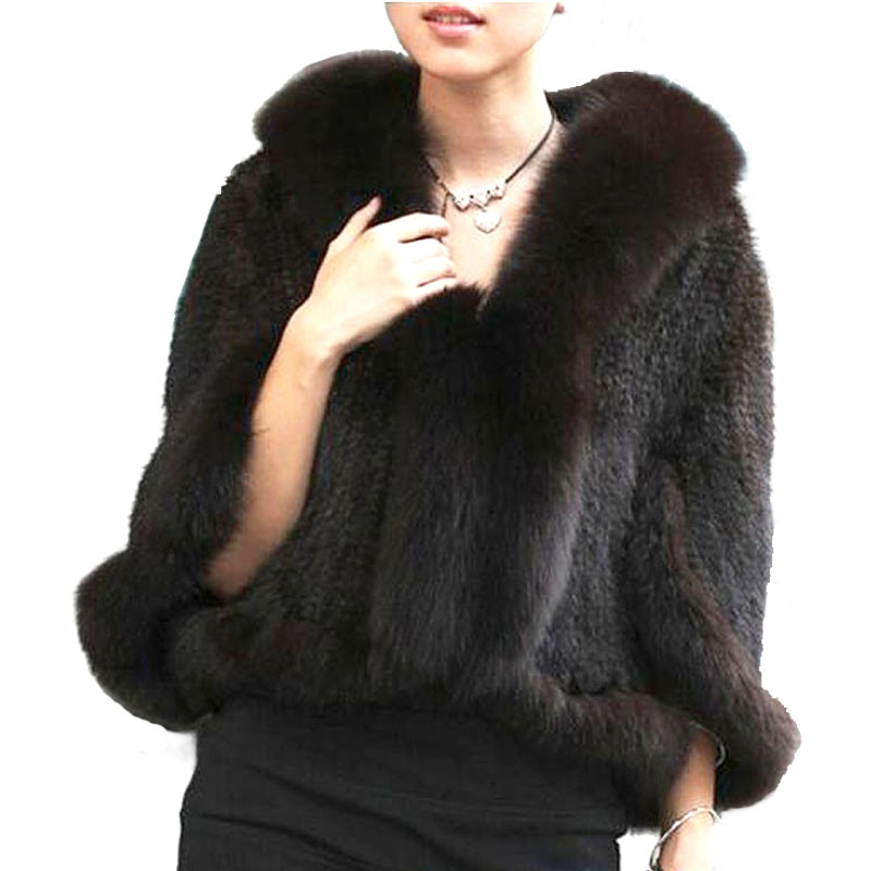 Høst vinter damer 'ekte strikket mink pels sjal Fox Fur Collar Kvinner Fur Pashmina Wraps Bridal Cape Coat Jacket