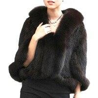 Autumn Winter Ladies' Genuine Knitted Mink Fur Shawls Fox Fur Collar Women Fur Pashmina Wraps Bridal Cape Coat Jacket