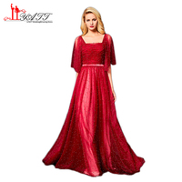 2018 New Arrival Red Formal Evening Dresses Luxury Beaded Pearls Square Neck Half Sleeve Floor Length