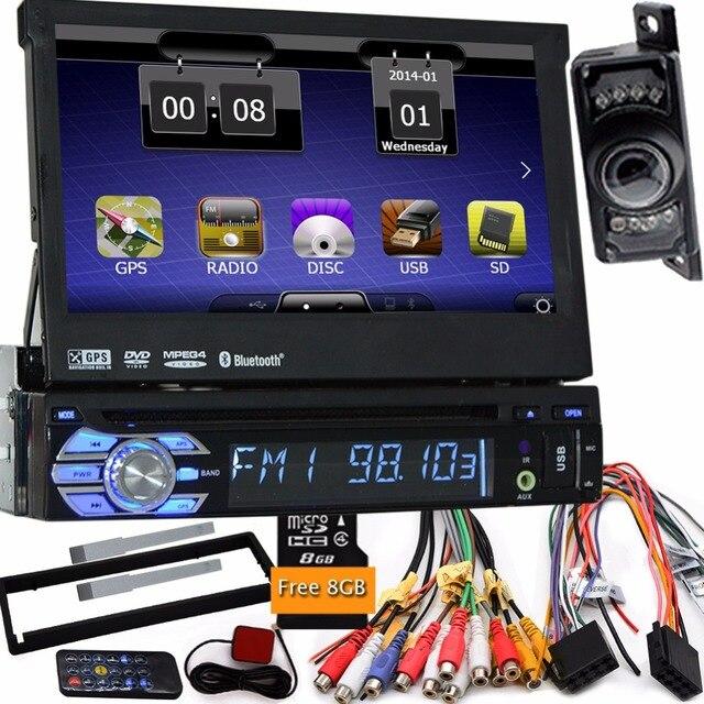 7'' single 1 din one din radio car dvd player gps navigator tape recorder autoradio player car radio steering wheel+car camera