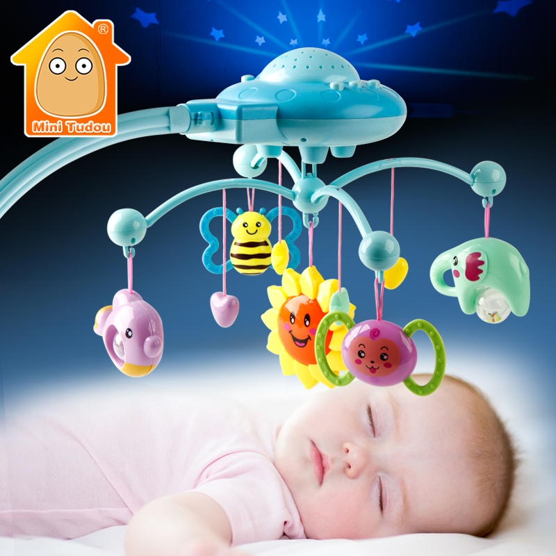 Baby Rattle Infant Toys For 0-12 Months Crib Mobile Bed Bell With Music And Sky Stars Projection Early Learning Kids Toy shiloh crib mobile infant baby play toys animal bed bell toy mobile cute lovely electric baby music educational toys 60 songs