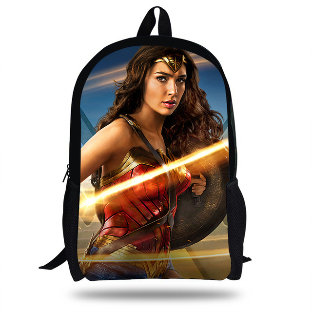 e1b608d2867c 16-inch Mochilas Girls Primary School Bag Wonder Woman Backpack Kids Boys Cartoon  Bags Children