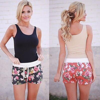 2018 Summer Women Ladies High Waist Casual Floral Beach Hot   Shorts