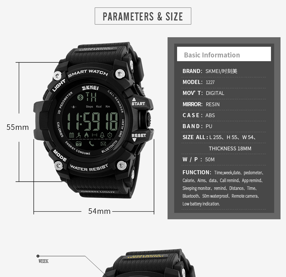 SKMEI Men Smart Watch Pedometer SKMEI Men Smart Watch Pedometer HTB1EEOYSXXXXXcpXFXXq6xXFXXXY