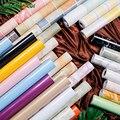 Водонепроницаемые настенные виниловые наклейки  1 метр  мрамор  дерево  чистый цвет  обои для гардероба  буфета  книжного шкафа  наклейки  дек...