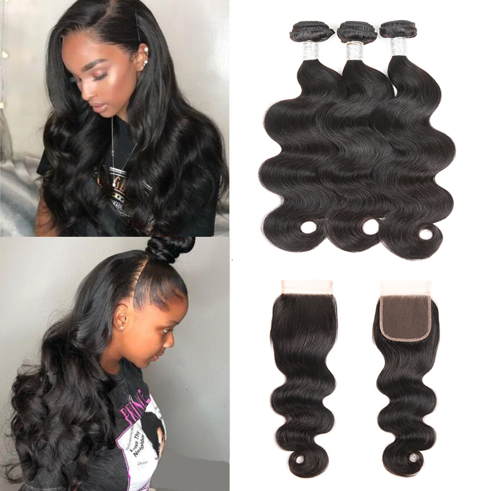 Joedir Indian Human Hair Bundles Med Closure Non Remy Body Wave 3 - Skønhed forsyning - Foto 1