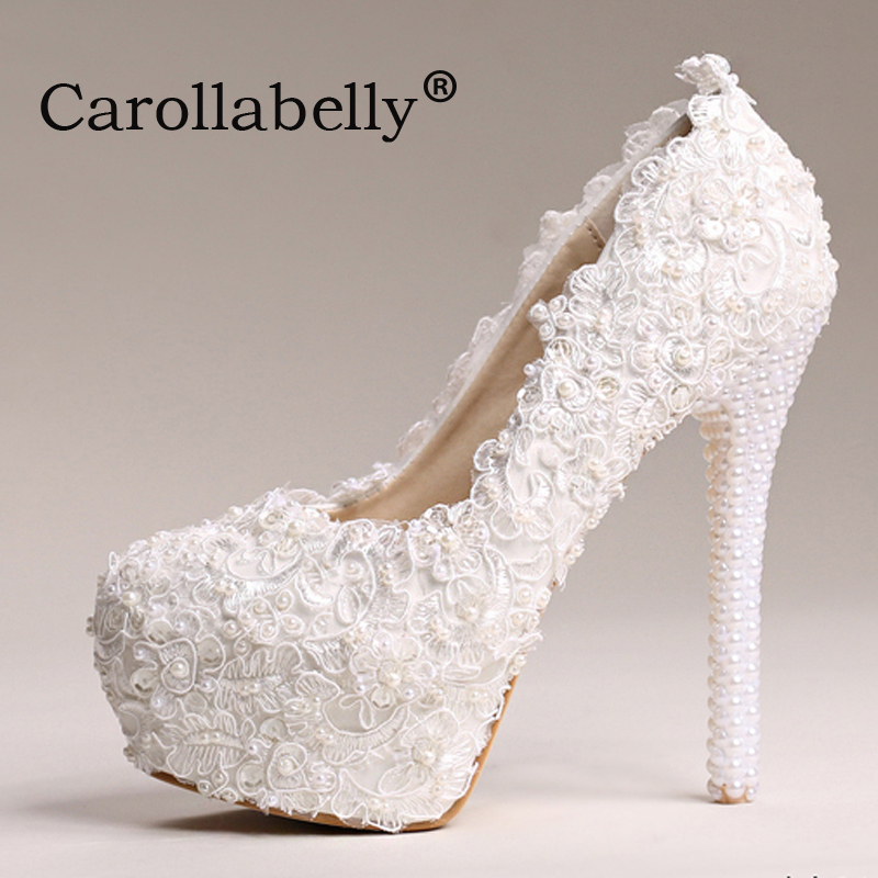 8cm/10cm/12cm/14cm lace pearls wedding shoes sweet high heels women pumps platform bridal shoes
