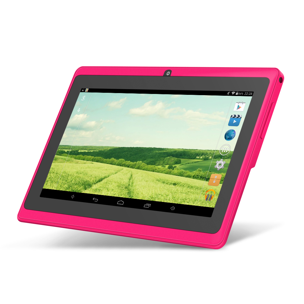 5 color Yuntab 7 inch Android Tablet Q88 1024 600 A33 Quad Core 512MB Add 8GB