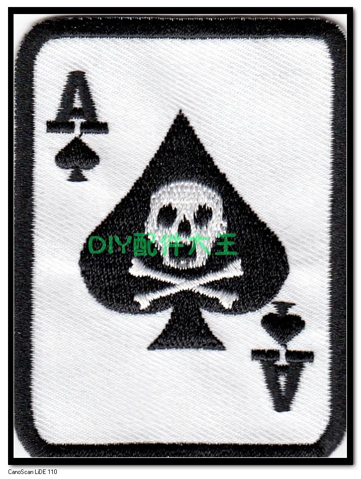 Hot prodej! NOVINKA Vyšívací Punk Rock Patches Skeleton Poker - Umění, řemesla a šití