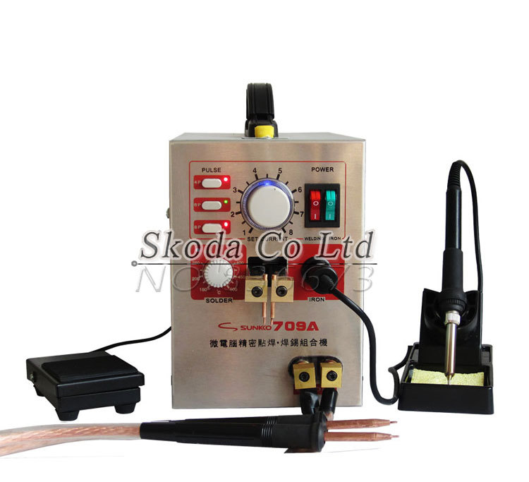 Multiple pulse Battery Spot Welder 709A Microcomputer Spot Welding machine Welding Pen Soldering Iron for Battery Assembly 1 9kw sunkko led pulse battery spot welder 709a soldering iron station spot welding machine 18650 16430 14500 battery 220v 110v