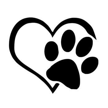 Pet wall sticker Paw Print With Heart Dog Cat Vinyl Decal Car Window Bumper wall sticker vinilo decorativo para pared stickers  Стикер