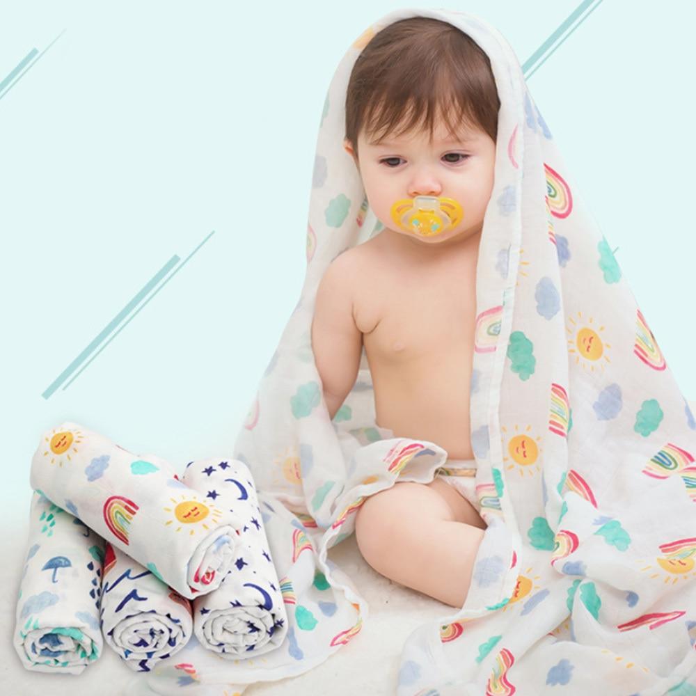 Baby Cotton Blanket Muslin Swaddle Blanket Bath Towel Cotton Blanket Infant Wrap Autumn Winter  Baby Stroller Cover 120*120cm