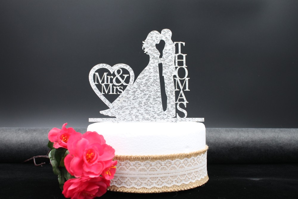 Personalized Wedding Cake Topper Decoration,Acrylic silver glitter,Custom wedding Bride Groom cake topper personalized last name8