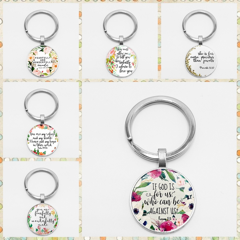 HOT! NEW Romans 8 31 Bible Quote Keychain If God Is for Us Who Can Be Against Us Verse Christian Nursery Jewelry Women Men Gifts image