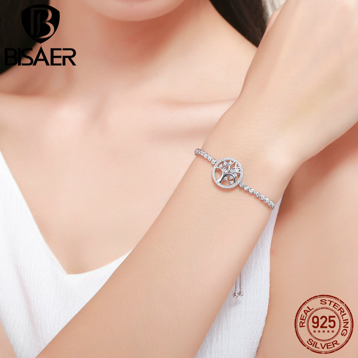 products silver color bindbin shape heart image zircon product crystal bracelet