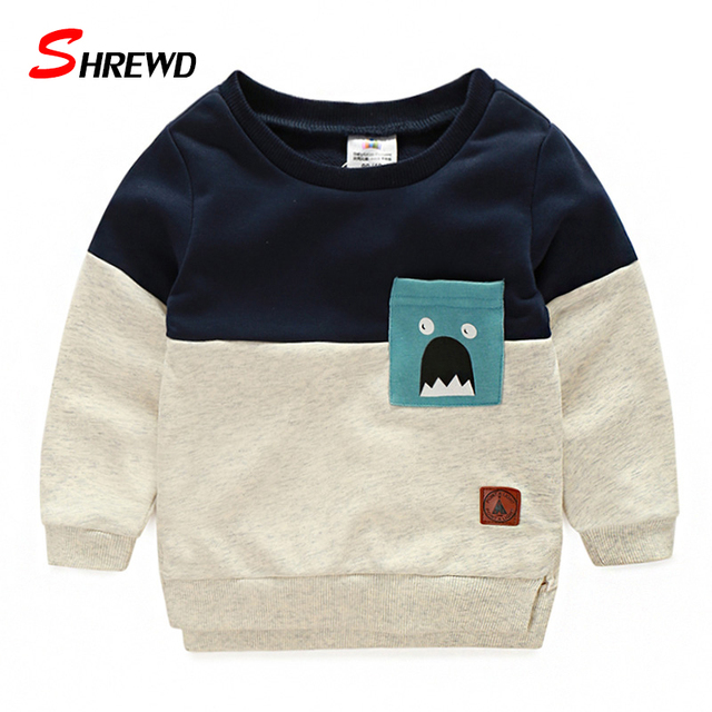 Boys Fashion T Shirt 2017 New Casual Patter Printing T-shirt Kids Simple O-neck Long Sleeve Baby Boy Clothes 4900W