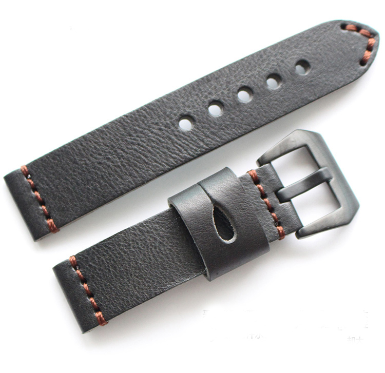 Black buckle 20mm 22mm 24mm 26mm High Quality Men strap Vintage Genuine Leather Big Watchband Brown Watch Straps for Panerai PAM hengrc fashion genuine leather watch band belt 20mm 22mm brown blue high quality men strap metal needle buckle for panerai